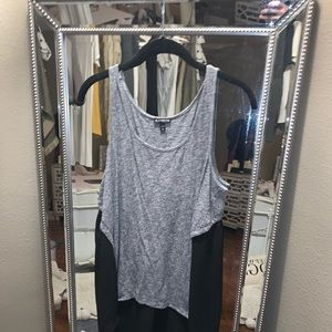 Two toned tank with chiffon back